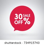 30  offer label sticker  sale... | Shutterstock .eps vector #734915743