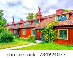 view of a cottage in the... | Shutterstock . vector #734924077