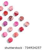 broken lipsticks isolated on... | Shutterstock . vector #734924257