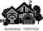 cozy cottage with trees and... | Shutterstock .eps vector #734927623