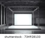 modern metal stand with white... | Shutterstock . vector #734928133