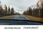 autumn forest road at high...   Shutterstock . vector #734929057