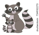 grey raccoon mother and child... | Shutterstock .eps vector #734932273