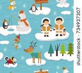 seamless pattern with eskimos...