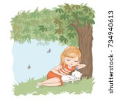 cute girl vector.children... | Shutterstock .eps vector #734940613