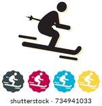skiing icon | Shutterstock .eps vector #734941033