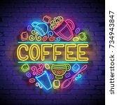 coffee house singboard template ... | Shutterstock .eps vector #734943847