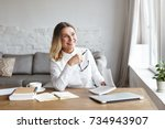 experienced mature female chief ... | Shutterstock . vector #734943907