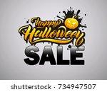 halloween sale vector banner... | Shutterstock .eps vector #734947507