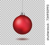 red christmas ball. new year... | Shutterstock .eps vector #734950993