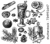 sketch mulled wine and spices... | Shutterstock .eps vector #734951647