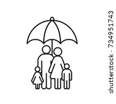 family under umbrella line icon.... | Shutterstock .eps vector #734951743