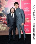 "Small photo of LOS ANGELES, CA - June 14, 2017: Edgar Wright & Ansel Elgort at the Los Angeles premiere for ""Baby Driver"" at the Ace Hotel Downtown."
