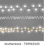 christmas lights isolated on... | Shutterstock .eps vector #734963143