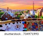 sunrise famous summer park... | Shutterstock . vector #734971993