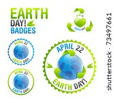 Earth Day badge set - stock vector