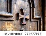 Old Wooden Door With Maltese...