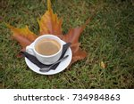 a cup of aromatic coffee on... | Shutterstock . vector #734984863