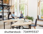 group of three young multi... | Shutterstock . vector #734995537