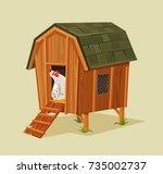 happy smiling chicken character ... | Shutterstock .eps vector #735002737