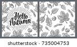 seamless pattern leafs  acorn ...   Shutterstock .eps vector #735004753