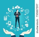 successful businessmen...   Shutterstock .eps vector #735007597