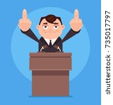 angry businessman office worker ... | Shutterstock .eps vector #735017797