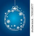 blue christmas ball background... | Shutterstock .eps vector #735018577