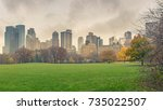 central park at rainy day  new... | Shutterstock . vector #735022507