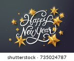 happy new year with... | Shutterstock .eps vector #735024787