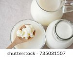 organic probiotic milk kefir... | Shutterstock . vector #735031507
