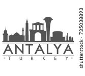 antalya turkey skyline... | Shutterstock .eps vector #735038893