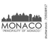 monaco skyline silhouette...   Shutterstock .eps vector #735038917