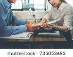teamwork process  business... | Shutterstock . vector #735053683