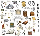 hand drawn doodle law and... | Shutterstock .eps vector #735054877