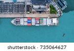shipping cargo to harbor... | Shutterstock . vector #735064627