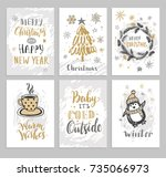 christmas hand drawn cards with ... | Shutterstock .eps vector #735066973