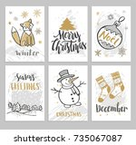 christmas cards with hand drawn ... | Shutterstock .eps vector #735067087