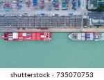shipping cargo to harbor... | Shutterstock . vector #735070753