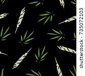 marijuana leaf and spliff ... | Shutterstock .eps vector #735072103