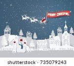 concept merry christmas of... | Shutterstock .eps vector #735079243
