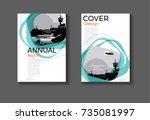 emerald green modern cover... | Shutterstock .eps vector #735081997