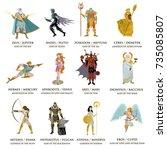 greek roman gods collection | Shutterstock .eps vector #735085807