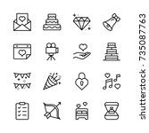 wedding icon set. collection of ... | Shutterstock .eps vector #735087763