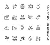wedding icon set. collection of ... | Shutterstock .eps vector #735087793