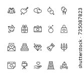 wedding icon set. collection of ... | Shutterstock .eps vector #735087823
