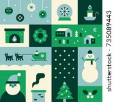 christmas icons green section... | Shutterstock .eps vector #735089443