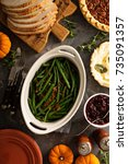 green beans with bacon  side... | Shutterstock . vector #735091357