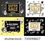sale poster of black friday.... | Shutterstock .eps vector #735098827