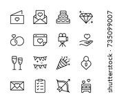 wedding icon set. collection of ... | Shutterstock .eps vector #735099007